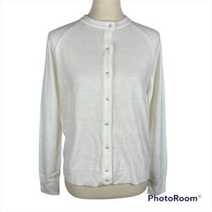 SMALL Cardigan Sweater WHITE Luxsoft Crew Neck Sweater Button Front NEW